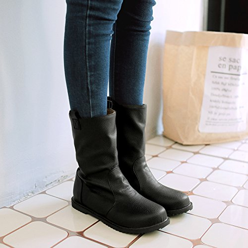 Women's Trendy Plain Round Toe Biker Martin Boots Shoes Flats Slip-on Slouch Short Ankle Booties