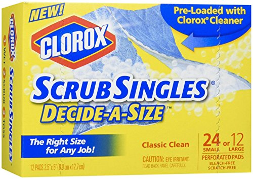 Clorox Scrubsingles Decide-A-Size, 12 Count (Clorox Blue Tub & Tile Scrubber Refill)