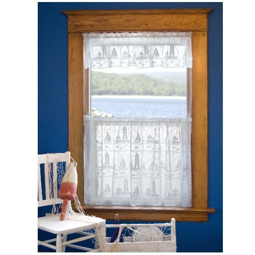 Heritage Lace Harbor Lights 60-Inch Wide by 30-Inch Drop Tier, - Valance Lace Lighthouse