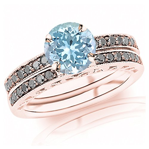 (1.02 Carat t.w 14K Rose Gold Pave Set Black Diamond Engagement Ring Wedding Band Set w/a 0.75 Carat Round Cut Blue Aquamarine Heirloom Quality )