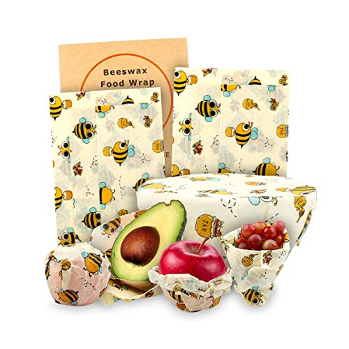 Beeswax Wraps For Reusable And Organic Plastic Free Food Storage Lunch And Sandwich Wraps, Eco Friendly And Sustainable, Bee Waste Free - By Gerrys Gifts ()