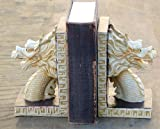 Gothic Dragon Bookends Medieval Book Ends Evil Medieval - Ivory Finished Book End