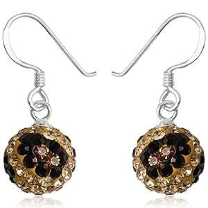 EYS JEWELRY® Pendientes para señora bola ball perla 24 x 10 mm Cristal plata de ley 925 marrón-colorado con la caja Pendientes mujer