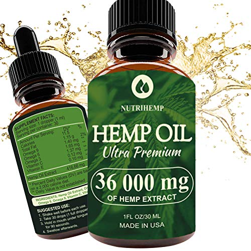 Hemp Oil Drops 36 000 mg, 100% Pure Natural Ingredients, Co2 Extracted, Helps Cope With Anxiety and Pain, Promotes Relaxation, Vegan Vegetarian Friendly (Best Cannabis For Anxiety)