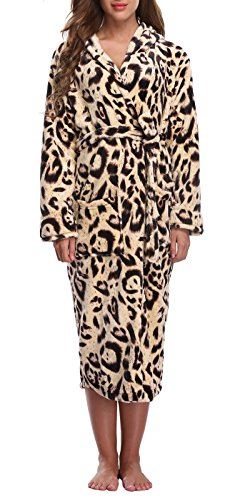 Cheetah Bath - WitBuy Women's Soft Fleece Long Robe Warm Hooded Plush Bathrobe Animal Loungewear Leopard S/M