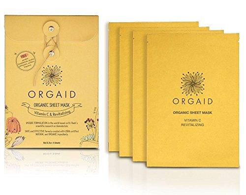 ORGAID Organic Sheet Mask   Made in USA (Vitamin C & Revitalizing, pack of 4)