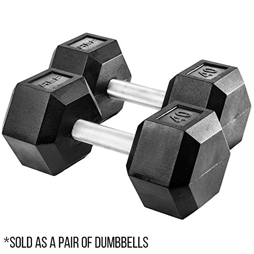 Rep Rubber Hex Dumbbells, 40 lb Pair