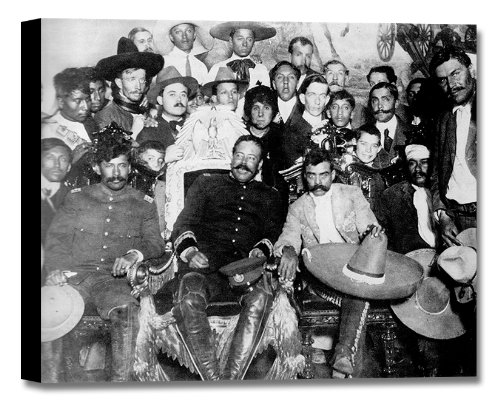 Emiliano Zapata With Francisco (Pancho) Villa Stretched (Black and White) Canvas Mexican Art Frame - 38x26in