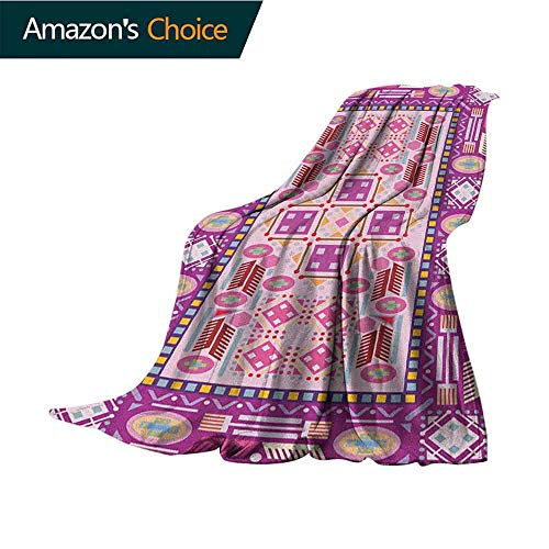 Afghan Toddler Blanket,Traditional Oriental Design with Simplistic Geometric Shapes Eastern Culture Motif Microfiber All Season Blanket for Bed or Couch Multicolor,35