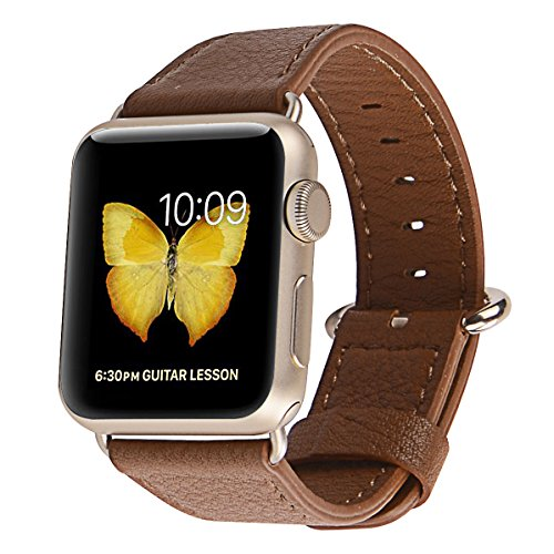 PEAK ZHANG Apple Watch Band 38mm Women Genuine Leather Replacement Wrist Strap with Stainless Metal Adapter Clasp for Iwatch Series 2,Series 1,Sport,Edition (38mm Light Brown+Golden Buckle)