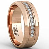 Duke Collections 8mm Rose Gold Tungsten Carbide Ring 11 Cubic Zircon Mens Wedding Comfort Fit (9)