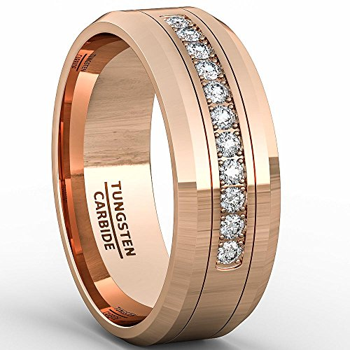Duke Collections 8mm Rose Gold Tungsten Carbide Ring 11 Cubic Zircon Mens Wedding Comfort Fit (9) by Duke Collections