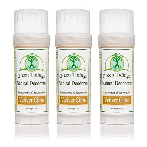 Green Tidings Natural Deodorant - Vetiver Citrus 2.7 oz. (3 Pack) - Extra Strength, All Day Protection - Vegan - Cruelty-Free - Aluminum Free - Paraben Free - Non-Toxic - Solid Lotion Bar Tube (Best Selling Deodorant Amazon)