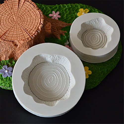 UNKE 2Pcs/Set 3D Tree Stump Silicone Mould Chocolate Fondant Cake Topper Molds Decor