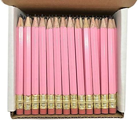 48 Lapices De Bolsillo #2 Con Goma Color Rosa Pastel