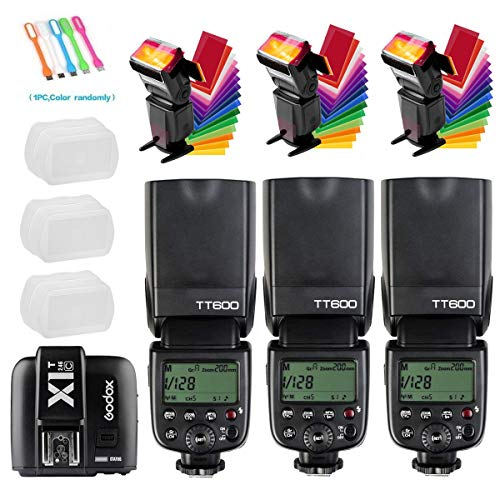 Godox 3X TT600 High Speed Sync 2.4G Wireless Camera Flash Speedlite X1T-C Remote Trigger Transmitter Compatible for Canon Cameras+3xDiffuer + CONXTRUE USB LED