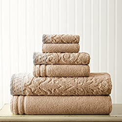 Amrapur Overseas 6-Piece Damask Jacquard/Solid Ultra Soft 550GSM 100% Combed Cotton Towel Set with Embellished Borders [Taupe]