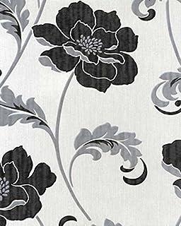 Fine white wallpaper with silver flowers model ball gown wedding group of black white vinyl wallpaper mightylinksfo