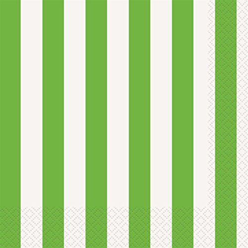 Lime Green Striped Paper Napkins