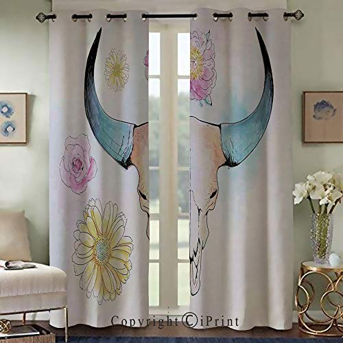 (RWNFA Thermal Insulated Blackout Curtains,Exquisite Curtain,Watercolor Illustration of Mountain Goat Skull with Flowers and Soft Colors Folkloric,Set of 2 Panels(50