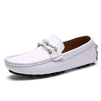 FuweiEncore Zapatos de Cuero para Hombre Primavera/Otoño Mocasines cómodos y Zapatillas sin Cordones/
