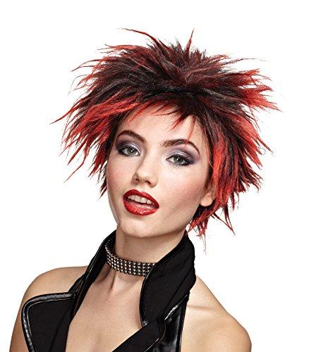 Punker Costume (UHC Women's Punker Chick Spiky Dark Rooted Wig Halloween Costume)