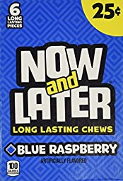Now and Later Blue Raspberry Flavored Candy Twenty-Four 6-Piece Bars