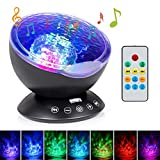Changing Table That Goes Over Crib Sunnest Ocean Wave Projector, Kids Night lights, 12LED Night Lighting Lamp with Built-in Music Player & Remote Control, 7 Color Changing Modes, Perfect for Baby Nursery Bedroom Living Room Unique Gift