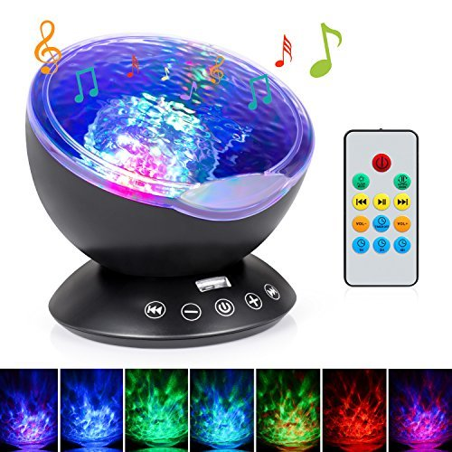 Sunnest Ocean Wave Projector, Kids Night lights, 12LED Night Lighting Lamp with Built-in Music Player & Remote Control, 7 Color Changing Modes, Perfect for Baby Nursery Bedroom Living Room Unique Gift