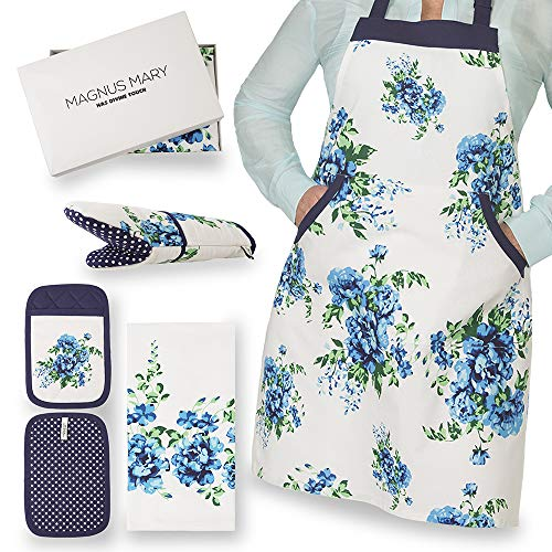 Perfect Present For Mothers, Ideal Mothers Kitchen Linen Set. Set Include Greeting Card, Bib Apron, Oven Mitt, Pot Holder, Kitchen Towel. Beautiful Flower Design, 100 Percent Cotton.Mothers Day - Mothers Apron