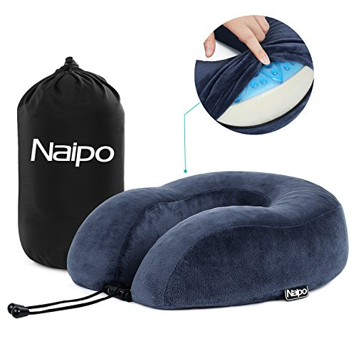 Naipo Travel Neck Pillow Memory Foam Neck Pillow Inflatable Memory Foam U Shape Neck Pillow with Washable Velour Cover and Handy Travel Bag for Airplane Car Train Office Use Blue