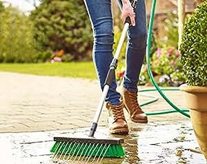 Jardín chorro de agua cepillo escoba Patio Driveway jardín Manguera 2en 1Limpiador de presión