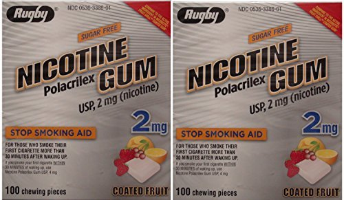 Nicotine Gum 2mg Sugar Free Coated Fruit Generic for Nicorette 100 Pieces per Box Pack of 2 Total 200 Pieces