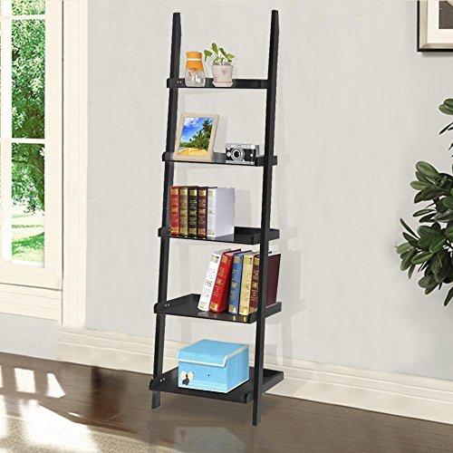 Yaheetech 5 Shelf Wood Leaning Ladder Bookshelf Bookcase
