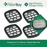 Filtro de aspiradora Hoover Presto, pieza # 440002094, 4 filtros  Diseñado por FilterBuy para reemplazar el filtro de la aspiradora Hoover Presto 2 en 1.