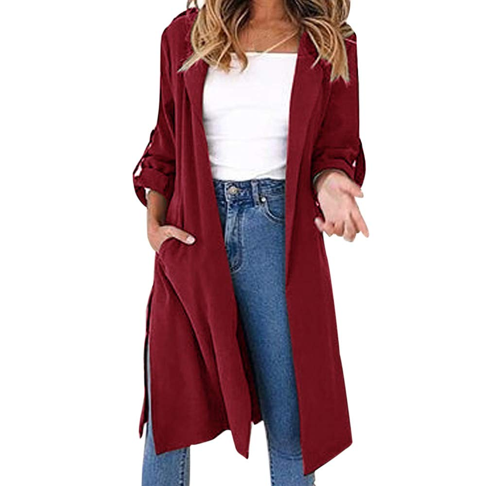 Franterd Women Coat Autumn Turn-Down Collar Cardigan Open Front Windbreaker with Belt Overcoat Outwear Pockets Jacket by Franterd (Image #1)