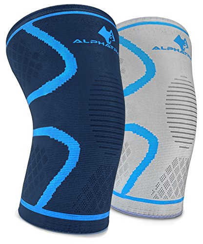 ALPHATRAIT Knee Compression Sleeve - Best Knee Support Brace for Joint Pain Relief, Arthritis, ACL & Injury Recovery - Effective for Running, Jogging, Sports, Gym Workout, Weightlifting, Fitness
