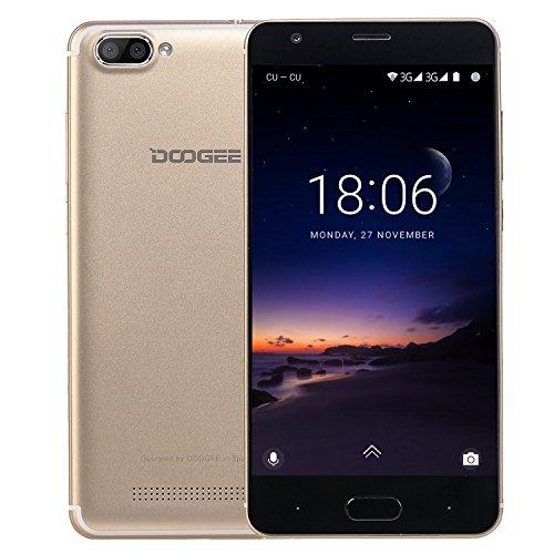 Moviles Libres Baratos, DOOGEE X20L Smartphone Libre, 5.0 Pantalla HD IPS - 4G Android 7.0 Telefonos - MT6737 4xCortex-A53, 1.25GHz - 2GB RAM+16GB ROM - 5.0MP Cámara - Batería de 2580mAh (Negro) Oro