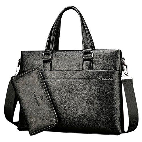 THEE Herren Ledertasche Vintage Business Tasche Handtasche Umhängetasche Aktentasche 14 Zoll Laptoptasche Bürotasche Lehrertasche Arbeitstasche Businesstasche Messenger Bag, Rind Leder schwarz 2
