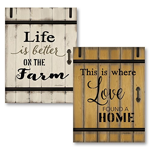 Gango Home Décor Vintage Life is Better on The Farm & Love Found a Home Barn Door by Karen Tribett (Printed on Paper); Two 12x16in Unframed Paper Posters
