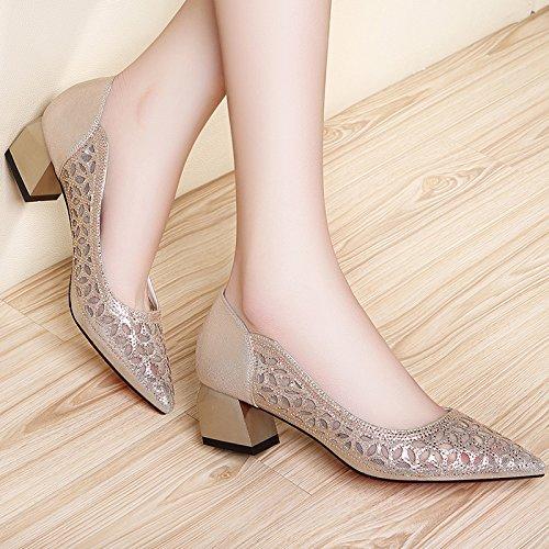 Con Mujer Zapatos Eu39 De Zapatos Zapatos Elegante Señaló Heeled EU37 High Mujer Con SHOESHAOGE Sociales Gruesos Una Sandalias XfZqBB
