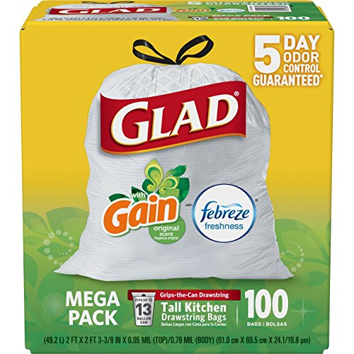 Glad OdorShield Tall Kitchen Drawstring Trash Bags 100 Count Only $9.05