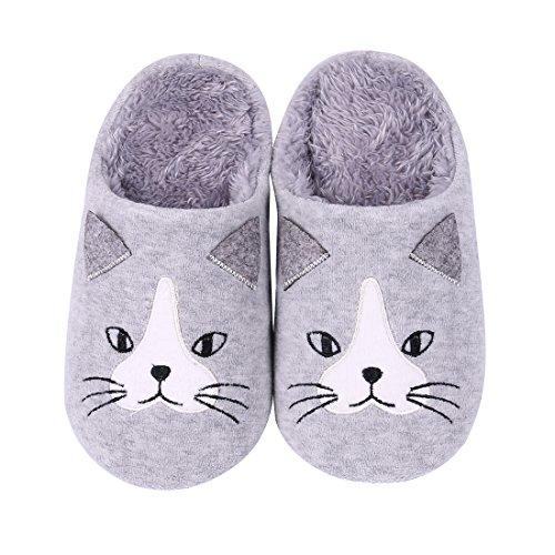 Cute Family House Slippers Dog Cat Hedgehog Penguin Animal Indoor Home Slippers Invierno Fuzzy Bedroom Zapatillas Para Niños Gray Cat