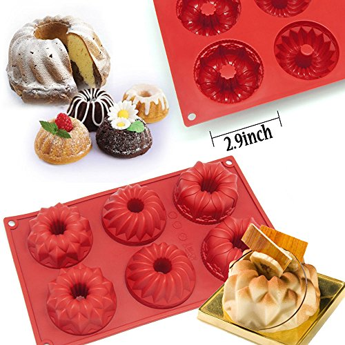 6-Cavity Silicone Mini Bundt Mold Baking Pan Kouglof Savarin Bakeware Soap Mold Top Selling Item