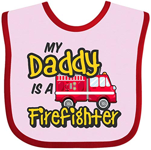 Inktastic - My Daddy is a Firefighter with Fire Baby Bib Pink and Red 2f95d