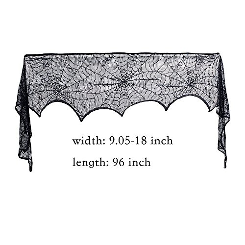 WANTER Halloween Decoration Black Lace Spider Web Fireplace Door Frame Cover Halloween Décor House Makeup Party Supplies for Honor Night 96 x 18 inches ()
