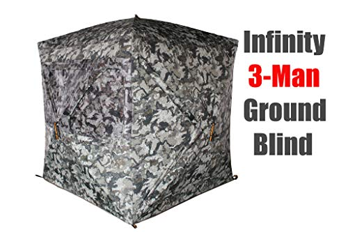 Muddy Infinity 3-Man Ground Blind with Surround View Shadow Mesh Eliminates Blind - Blind Up Pop