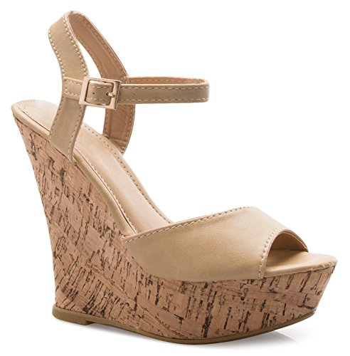 OLIVIA K Women's Open Toe Strappy High Wedge Platform Heel Wood Decoration Buckle Shoes Sandals ()
