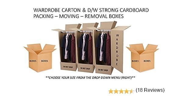 10 x Cajas de almacenamiento y transporte de cartón – Seleccione el tamaño y anchura de este listado – Fuerte doble pared – Cajas de almacenamiento (3 unidades), cajas de embalaje – Armario