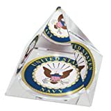 "United States Navy Logo in 2"" Crystal Pyramid with Colored Windowed Gift Box"